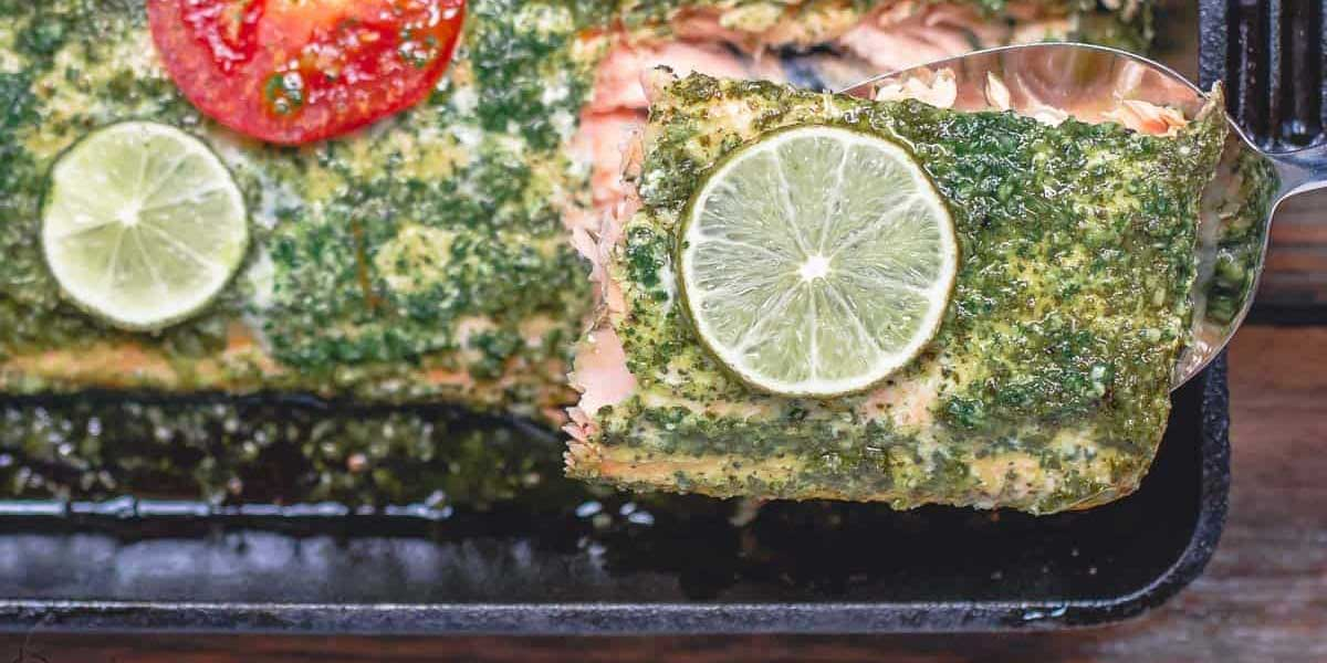 Baked Salmon With Mint Cilantro