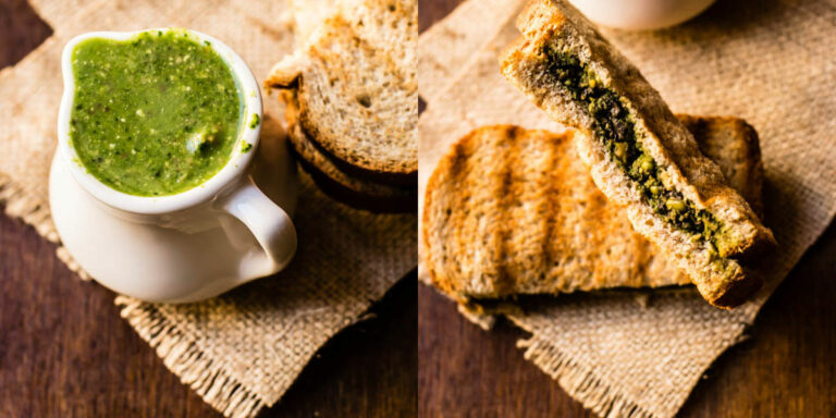 Kid's Breakfast : Bread Sandwich with Spinach Pesto and Mushrooms