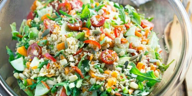 Cold Quinoa Salad with creamy balsamic dressing
