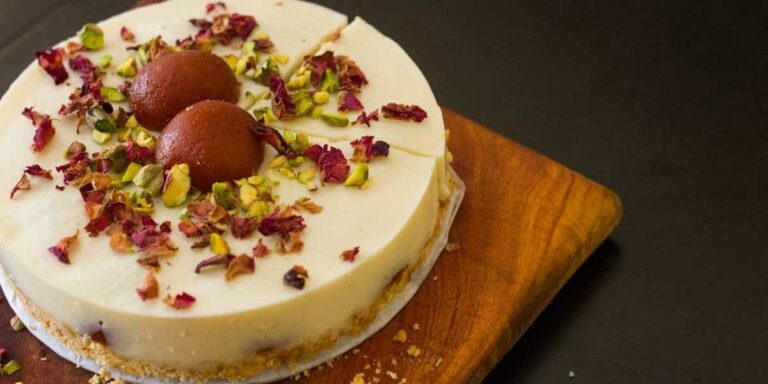 No-Bake Gulab Jamun Cheesecake
