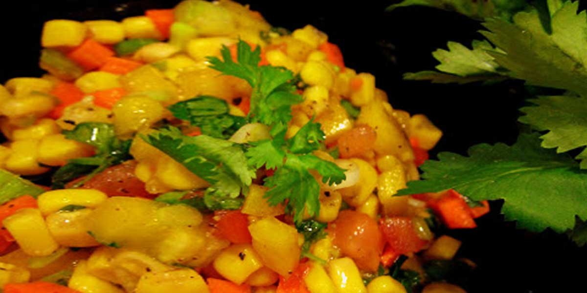Salad with Corn, Jalapeno, Carrots and Bell Peppers
