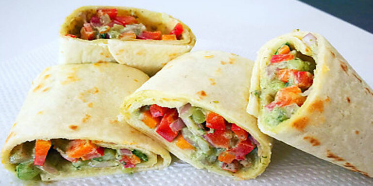 Spinach Tortilla Wrap with Paneer-Vegetable Kebab