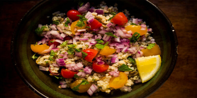 Quick and healthy quinoa salad with yogurt-mint dressing